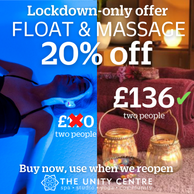 Float & massage lockdown offer price for two IG Mar21
